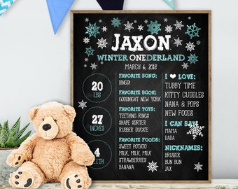 Winter ONEderland First Birthday / Baby Facts, Blue Chalkboard Stats, Chalk Baby Boy Birthday Sign▷ Printable File {or} Printed & Shipped