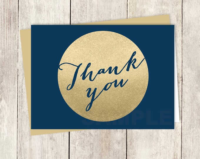 Gold And Navy Thank You Card DIY / Faux Metallic Gold Circle and Navy Blue, Calligraphy / Wedding Thank You Printable PDF ▷ Instant Download