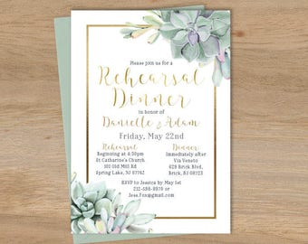 Succulent Dinner Invitation / Rehearsal Dinner / Greenery and Gold Geometric / Green Cactus and Gold ▷ Printed Invitations {or} Printable