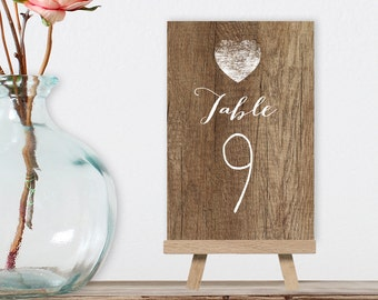 Rustic Table Numbers, Wedding Table Name 5x7s for Outdoor Wedding, Barn Wood, White Calligraphy > PRINTED Table Number Cards, Double-Sided