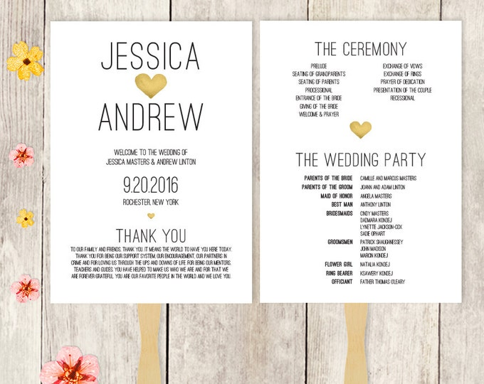 Wedding Program Fan DIY / Wedding Fan / Gold Watercolor Heart / Summer, Destination Wedding ▷ Printable {or} Printed *** ASSEMBLY REQUIRED