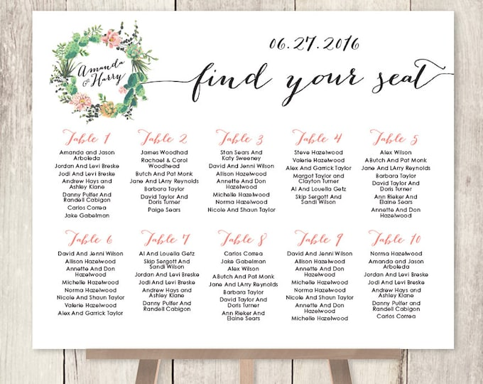 Floral Wedding Seating Chart Sign / Pink Flowers and Cactus Succulent / Mexican Fiesta Wedding Sign ▷ Printable File {or} Printed & Shipped