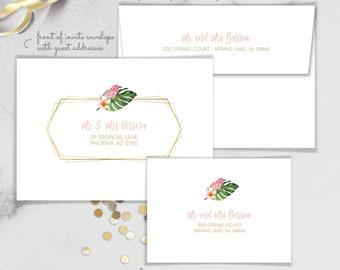 Tropical Envelopes / Guest Addresses / Return Address Printing / Palm Leaves, Tropical Leaf, Gold and Blush / Addressed Envelope Addressing