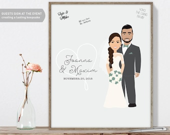 Wedding Guest Book Alternative / Wedding Portrait Illustration / Gift for Couple / Greenery ▷ Canvas Guest Book, Paper Print {or} Printable