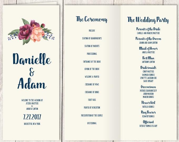 Rustic Folding Wedding Program DIY / Burgundy Peony Berry Bouquet, Peach Blush Pink Ranunculus, Wedding Ceremony Program ▷Printable PDF