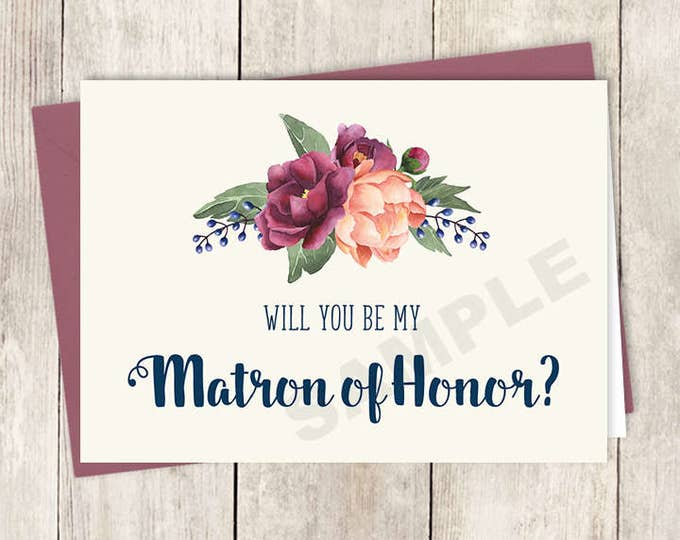 Will You Be My Matron of Honor Card DIY Printable / Burgundy Peony Berry Bouquet, Peach Blush Pink Ranunculus, Fall ▷ Instant Download PDF