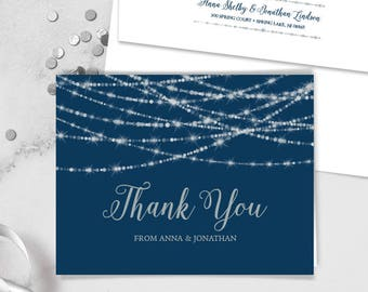 Elegant Thank You Card / Festive Bokeh String Light Sparkle / Navy and Silver Calligraphy ▷ Printed Heavy Paper {or} Printable