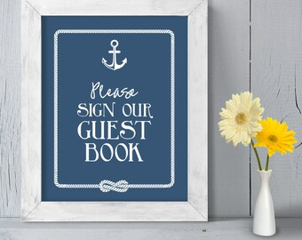 Wedding Guest Book Poster DIY Printable // Nautical Wedding Sign // Anchor & Rope Infinity Knot // Sign Our Guestbook ▷ Instant Download