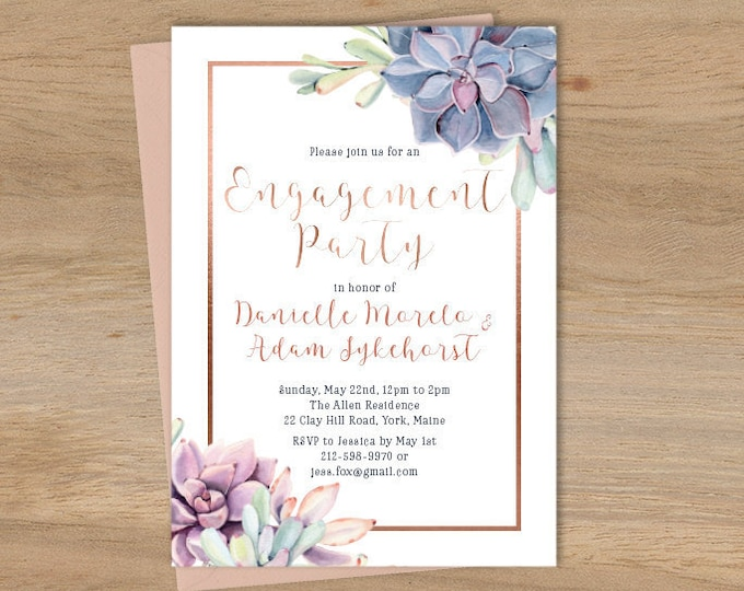 Succulent Engagement Party Invitation / Greenery and Rose Gold Geometric / Cactus and Copper ▷ Printed Wedding Invitations {or} Printable