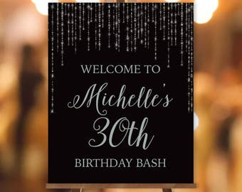 Silver Birthday Welcome Sign / Bokeh String Light Sparkle / Black and Silver ▷ Printable File {or} Printed & Shipped