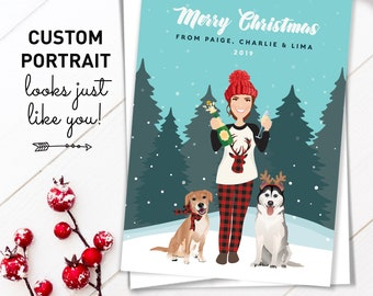 Portrait Christmas Card > Unique Holiday Card Idea, Christmas Cards with Pets and Custom Personal Portrait for Single Woman