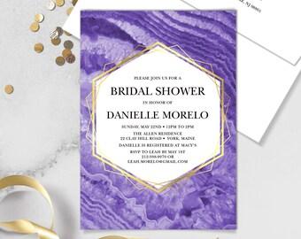 Ultraviolet Bridal Shower Invitation / Purple Gemstone, Violet Marble, Agate, Purple & Gold Geometric ▷Printed Invitations {or} Printable