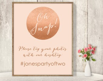 Wedding Hashtag Sign / Instagram Sign / Social / Rose Gold Sparkle Glitter Metallic Gold on Coral ▷ Printable File {or} Printed & Shipped