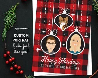 Custom Portrait Holiday Cards, Buffalo Plaid Christmas Cards, Custom Family Portrait with Cat Cartoon, Printed Holiday Cards