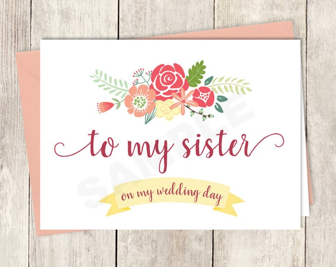 To My Sister On My Wedding Day Card DIY Printable / Wedding Rustic Flower Charm / Bright Pink, Red, Yellow Wildflowers ▷ Instant Download
