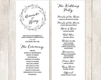 Floral Wedding Program / Rustic Lavender Wreath Flower, Twig / Bridal Party, Schedule of Ceremony ▷ Printable File {or} Printed & Shipped