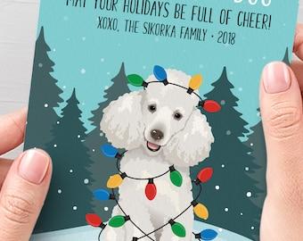 Poodle Christmas Card, Funny Christmas Cards with Custom Dog Portrait, Funny Custom Pet Portrait Holiday Card, Poodle Mom Xmas Card