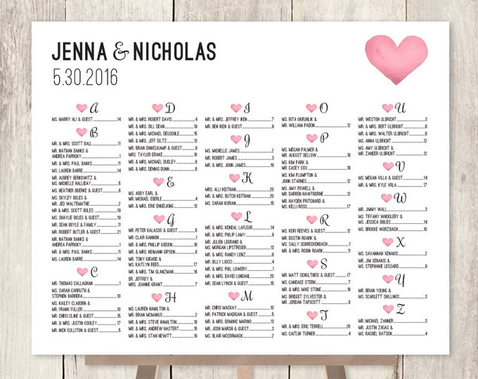 Alphabetical Seating Chart Sign DIY / Wedding Seating Chart / Pink Watercolor Heart / Seating Sign ▷ Personalized and emailed printable file