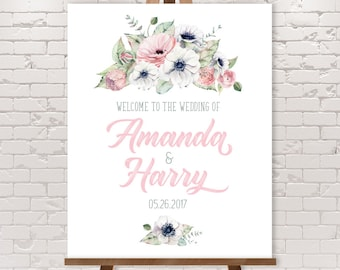 Boho Wedding Welcome Sign / Blush, White and Greenery, Anemone, Pink Peony Rose / Blush and Gray ▷ Printable File {or} Printed & Shipped