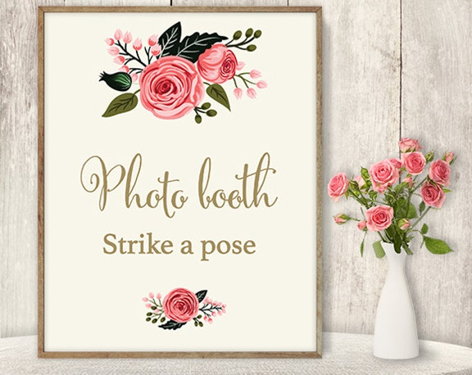 Wedding Photo Booth Sign / Strike A Pose Sign / Wedding Sign DIY / Watercolor Flower Poster Printable / Calligraphy, Rose ▷Instant Download