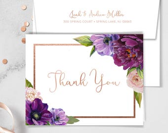 Purple Thank You Card / Purple Flowers, Anemone, Peony, Ranunculus, Faux Rose Gold / Fall Wedding ▷ Printed Heavy Paper {or} Printable