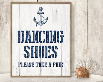 Dancing Shoes, Please Take A Pair // Flip Flop Basket Sign DIY // Dance Poster // Nautical Anchor PDF // Nautical Planks ▷ Instant Download