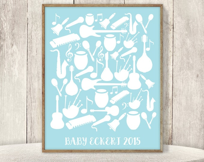 Musical Baby Shower Guest Book Alternative / Guitar, Drum, Harmonica, Rock'n'roll, Baby Blue Boy ▷ Printable File {or} Printed & Shipped