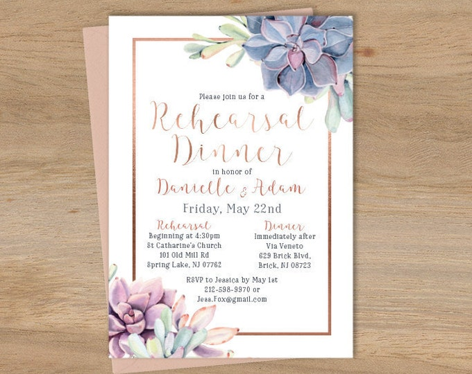 Succulent Dinner Invitation / Rehearsal Dinner / Greenery and Rose Gold Geometric / Cactus Copper▷Printed Wedding Invitations {or} Printable