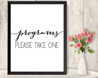 Wedding Program Sign / Please Take One / Wedding Ceremony Sign DIY / Trendy Calligraphy Sign / Printable PDF Poster ▷ Instant Download