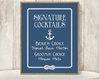 Nautical Signature Cocktail Sign / His and Hers Drink / Nautical Anchor and Rope Infinity Knot Sign ▷ Printable File {or} Printed & Shipped