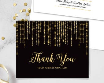 Elegant Thank You Card / Great Gatsby Bokeh String Light / Black and Gold Calligraphy ▷ Printed Heavy Paper {or} Printable