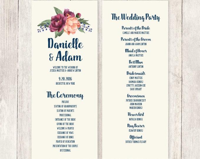 Rustic Wedding Program / Bridal Party / Burgundy Peony Berry, Peach Blush Pink Ranunculus, Fall ▷ Printable File {or} Printed & Shipped