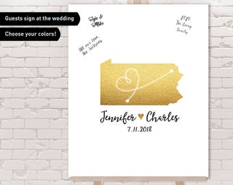 Pennsylvania Guest Book Alternative / Wedding Map / Faux Metallic Gold Map Guestbook / Guest Sign In ▷ Canvas, Paper, Board or Printable