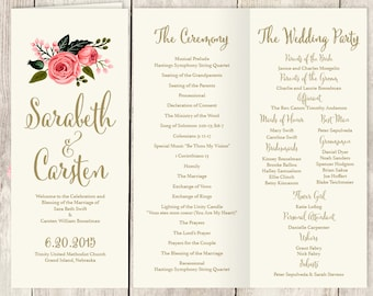 Floral Folding Program Printable / Watercolor Flower, Gold Calligraphy, Pink Rose on Cream / Wedding Program / Folded Program ▷Printable PDF
