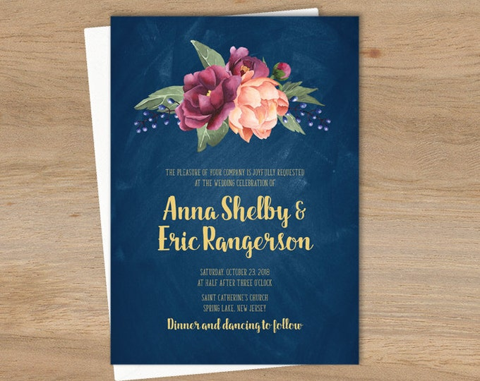 Rustic Wedding Invitation / Peonies, Berries, Navy Chalkboard, Blush Ranunculus, Gold and Navy ▷ Printed Wedding Invitations {or} Printable