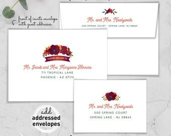 Envelope Addressing / Custom Crest Envelopes / Guest Addresses / Return Address Printing / Addressed Envelope Addressing / Burgundy & Orange