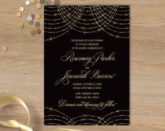 Great Gatsby Wedding Invitation / Bokeh Gold Fairy Lights, Black and Gold Art Deco / Wedding Invite ▷ Printed Invitations {or} Printable