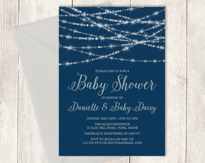 Elegant Baby Shower Invitation DIY / Festive Bokeh String Light Sparkle / Navy and Silver Calligraphy ▷ Baby Shower Invite Printable PDF