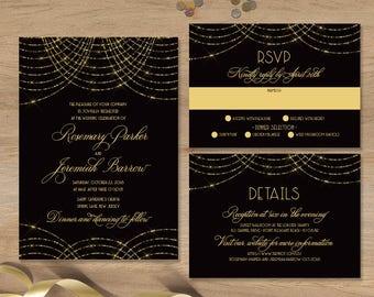 Great Gatsby Wedding Invitation Set / Bokeh Gold Fairy Lights, Black and Gold Art Deco / Invite Set ▷ Printed Invitations {or} Printable