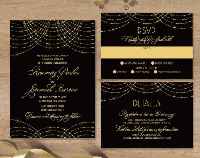 Great Gatsby Wedding Invitation Set / Bokeh Gold Fairy Lights, Black and Gold Art Deco / Invite Set ▷ Printed Invitations {or} Printable