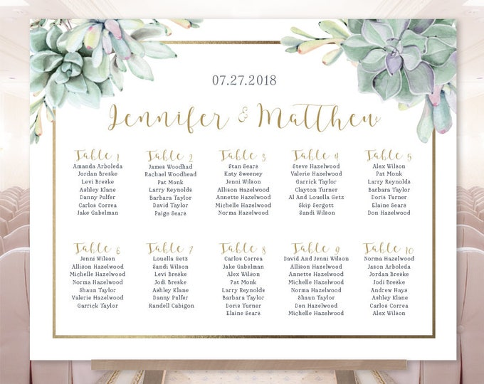 Succulent Wedding Seating Chart Sign / Greenery and Gold Geometric / Green Cactus and Gold ▷ Printable File {or} Printed & Shipped
