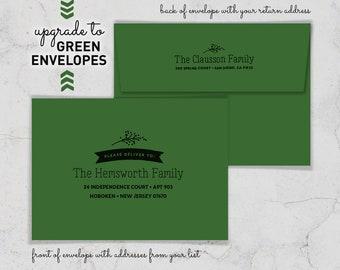 Green Envelopes for Holiday Cards, Addressed Envelopes