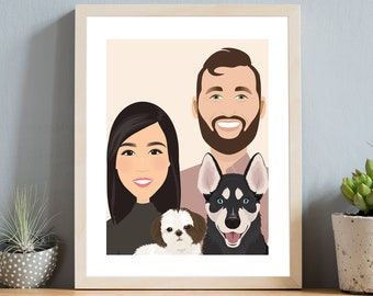 Custom family portrait with pets. Hygge style drawing of couple with dogs. Personalized gift art on warm beige background. Boho wall art.