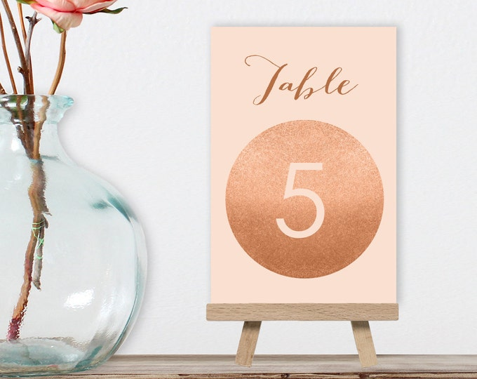 Rose Gold Table Numbers, Wedding Table 5x7s for Rose Gold Wedding, Faux Rose Gold and Coral > PRINTED Table Number Cards, Double-Sided