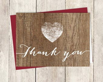 Rustic Thank You Card DIY / Rustic Wood Sign, White Calligraphy / Wedding Thank You Printable PDF ▷ Instant Download