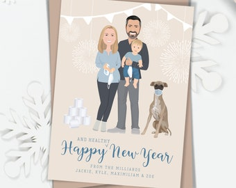 Pandemic Portrait New Years Cards, Funny Custom Family Portrait Holding Masks, Using Hand Sanitizer, Hoarding Toilet Paper, Greyhound card