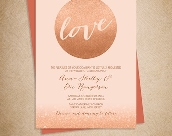 Rose Gold Sparkle Wedding Invitation / Metallic Rose Gold Glitter Circle on Coral Background ▷ Printed Wedding Invitations {or} Printable