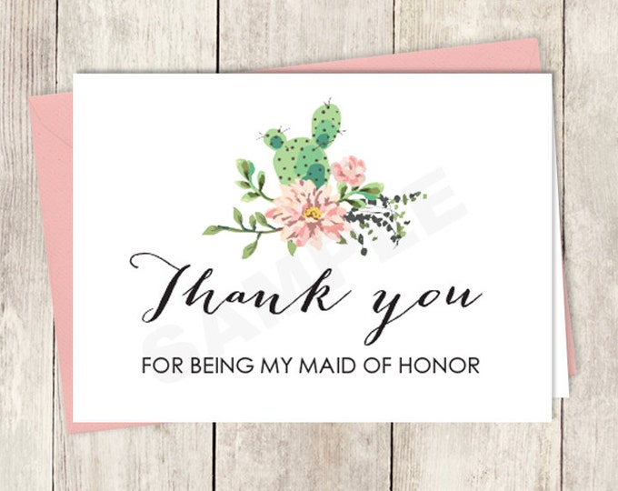 Rustic Wedding Thank You Card DIY Printable / For Being My Maid Of Honor / Cactus Succulent, Coral Flower Wreath, Fiesta ▷ Instant Download
