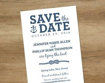 Nautical Save The Date / White and Navy / Infinity Knot Rope, Anchor, Initials Monogram ▷ Printed Wedding Invitations {or} Printable