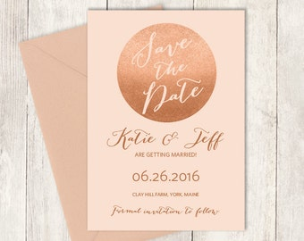 Rose Gold Sparkle Save The Date / Metallic Rose Gold Glitter Circle on Coral / Pink and Gold ▷ Printed Wedding Invitations {or} Printable